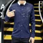 Men's Korean Two-tone Color Collar Hotfix Rhinestone Flower Designed Long-sleeve Shirt