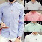 Men's Oxford Plain Color Webbing Classic Button-down Long Sleeve Shirt