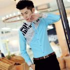Men's Elegant Korean Fit Paisley Stripes Designed Long-sleeve Shirt
