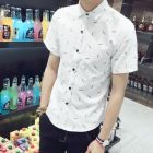 Men's Stylish Korean Casual Slim Fit Button-up Short-sleeve Shirt