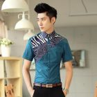 Men's Korean Classic Paisley Stripes Designed Short-sleeve Shirt