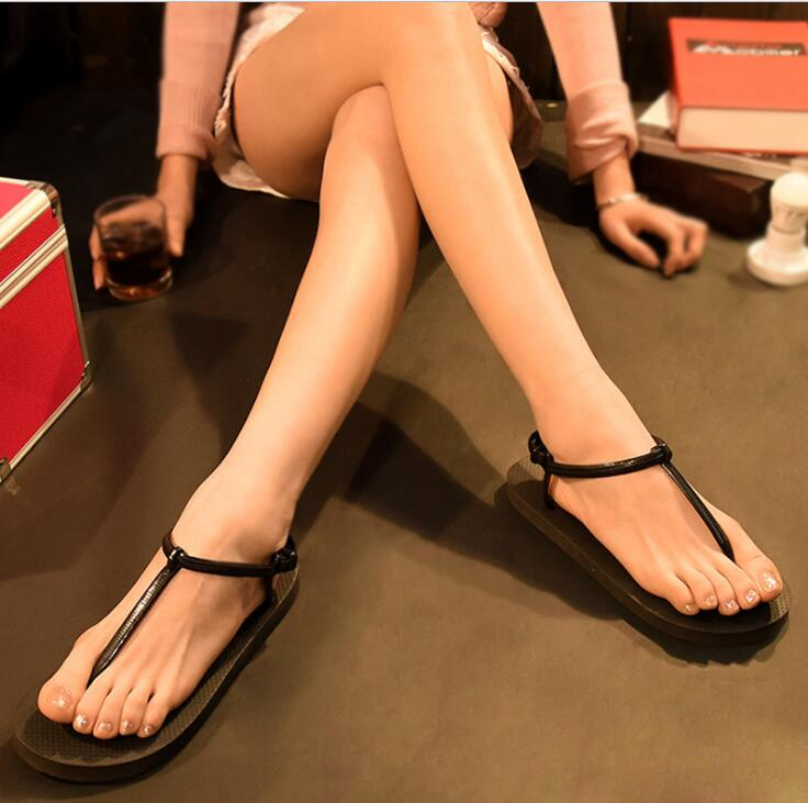 Korean Roman Fashion Sweet Color Ladies Flip-Flop Beach Sandals