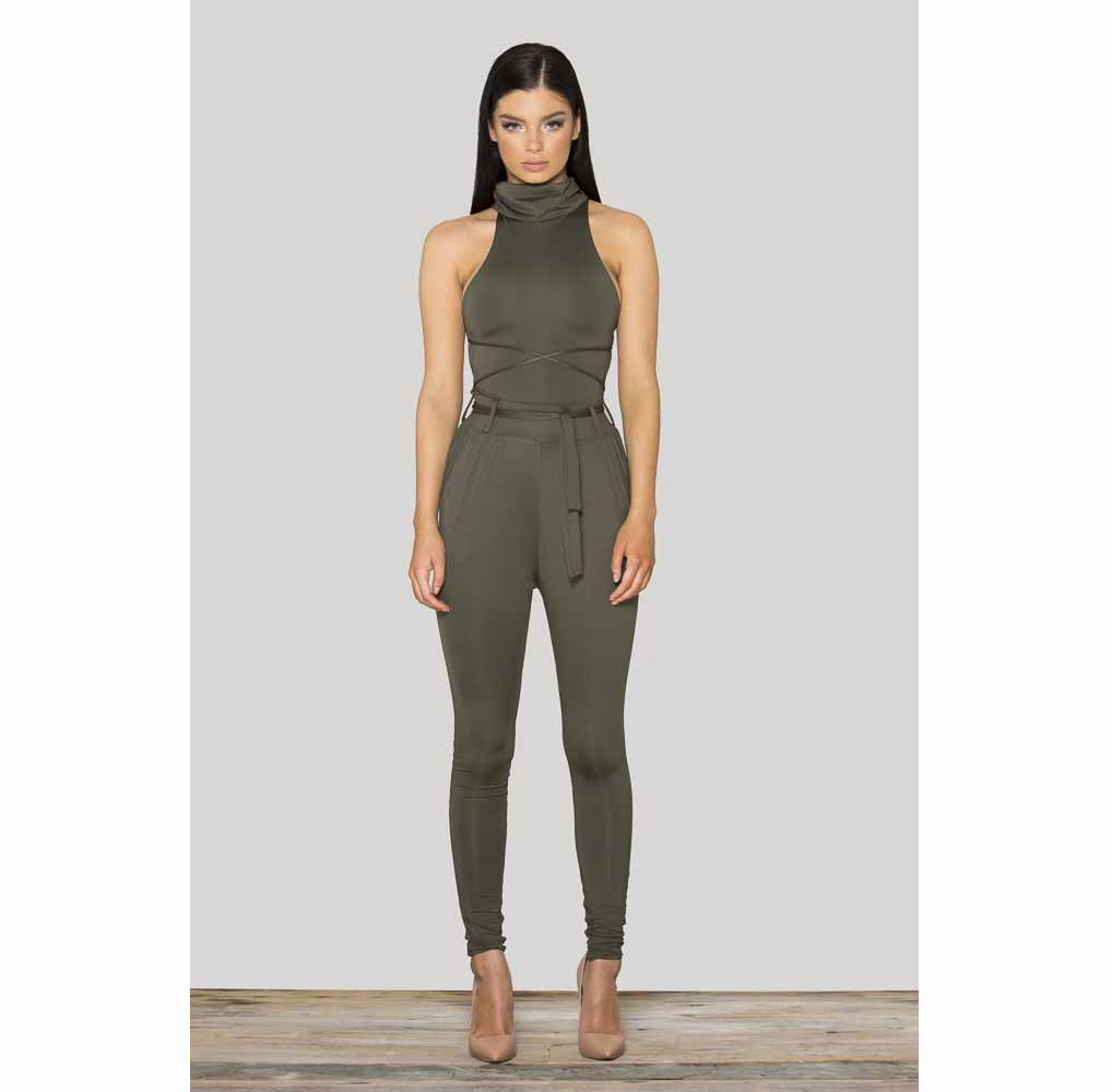 Fashion Funnel Neck Back-strap Bodycon Jumpsuit