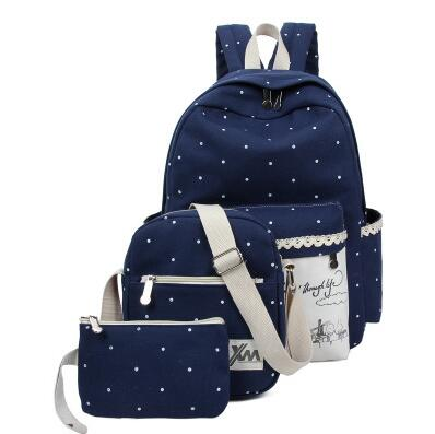Korean Colorful Canvas Polka Dot Pattern Designed Composition Simple Student College Backpack/3pcs per Set