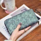Elegant Grid Weave Pattern Designed Long Ladies Clutch Purse