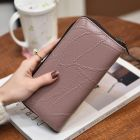 Ladies Retro Fashion Irregular Vein Pattern Designed Long Zipper Ladies Purse Wallet