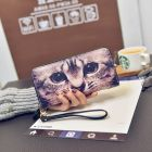 Ladies Hipster Fashion Animals Printed Classy Ladies Long Black Purse Wallet