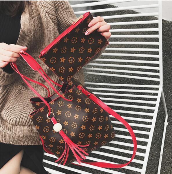 Ladies Fashion Louis Vuitton Pattern Inspired Tassels Pendants Composition Bucket Bag/ 2pcs per Set