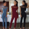 European Classic Elegant Hollow Cross-cut High-neck Short Sleeve Women Jumpsuit