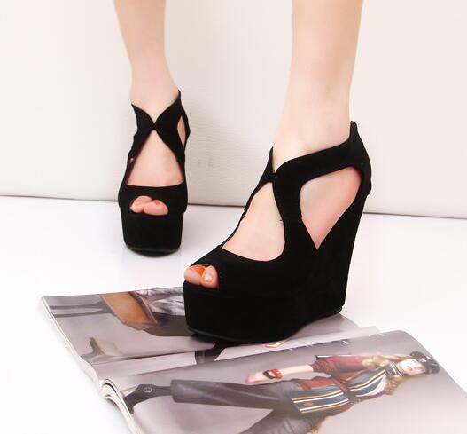 Ladies Plain Color Designed European Fashion Sexy Thick Heels Shoes