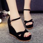 Comfy Ladies Candy Color Anti-skid Open-toe Strap Buckled Simple Velvet High-heeled Shoes
