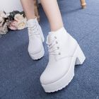 Hipster European Ladies Fashion Thick Muffin Crust Plain White Black High-heeled Martin Boots