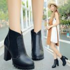 British Ladies Fashion Punk Chunky High-heeled Martin Ankle Boots
