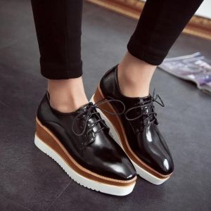 Classic Black Ladies Three-tone Color Thick Crust Wedges Shoes