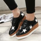 In-style Ladies White Star Designed Classic Black Thick Crust Bottom Wedges Shoes