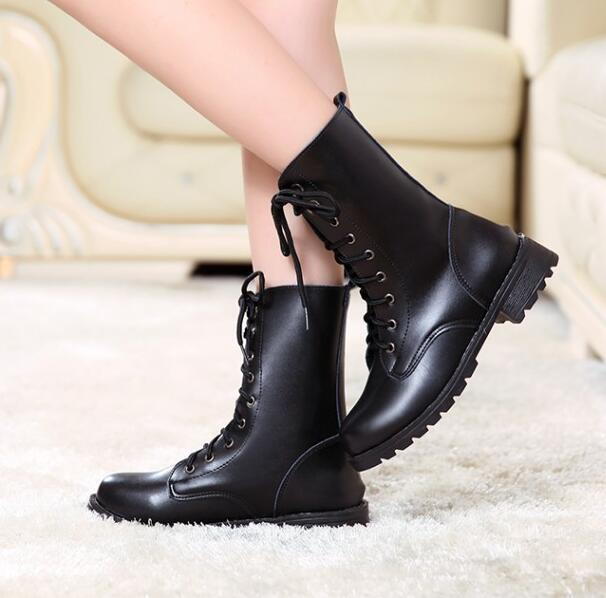Stylish British Ladies Fashion Classic Black Thick Bottomed Mid-calf Martin Boots