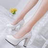 Classic Elegant Ladies Nude Color Shiny Face Waterproof High-heeled Dinner Shoes