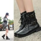 Punker Ladies British Fashion Buckled Designed Classic Black Mid-calf Martin Boots