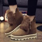 European Ladies Velvet Insole Height Increased Thick Bottomed Hairy Warm Cotton Ankle Shoes