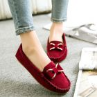 Sweet Colorful Ladies Knitted Side Pattern Designed Metal Ribbon Comfy Matte Flat Cover Shoes