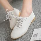 Retro Ladies Simple Casual Plain Color Peas Flat Formal Covered Shoes