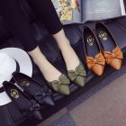 Vintage Color Ladies Ribbon Pattern Designed Simple Casual Pointed Flat Shoes