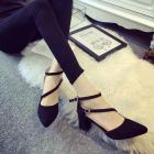Korean Simple Elegant Double Strap Buckled Point-toe High-heeled Velvet Dinner Shoes