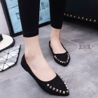 Korean Women's Fashion Pointed Head Suede Rivet Designed Casual Flat Shoes
