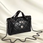 European Ladies Elegant Spiraea Lingge Pattern Front Metal Locker Pendants Long Zipper Chain Bag