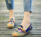 Women's Vintage Fashion Embroidered Floral Design Casual Flat Shoes