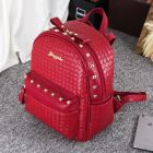 Stylish Ladies Sharp Color Weave Diagonal Pattern Side Rivet Designed Comfy Backpack