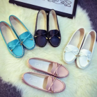 Korean Women's Fashion Flat Round Head Bow Design Casual Shoes