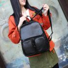 Korean Ladies Simple Casual Double Zipper Front Pocket Design Classic Black Student Backpack