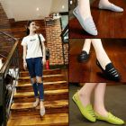 Korean Fashion Ladies In-style Criss-cut Hollow Vintage Color Covered Flat Shoes