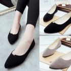 Simple Plain Designed Ladies Comfy Leisure Matte Point Toe Covered Flat Shoes