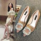 Sparkle Pearls Beaded Pattern Designed Elegant Ladies Pointed High Stiletto Heels Suede Shoes