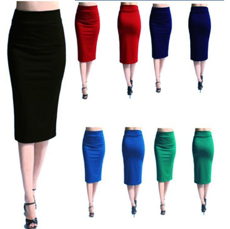 Sexy Formal Office Ladies Colorful Stretchable Bodycon Knee Length Designs Pencil Skirt