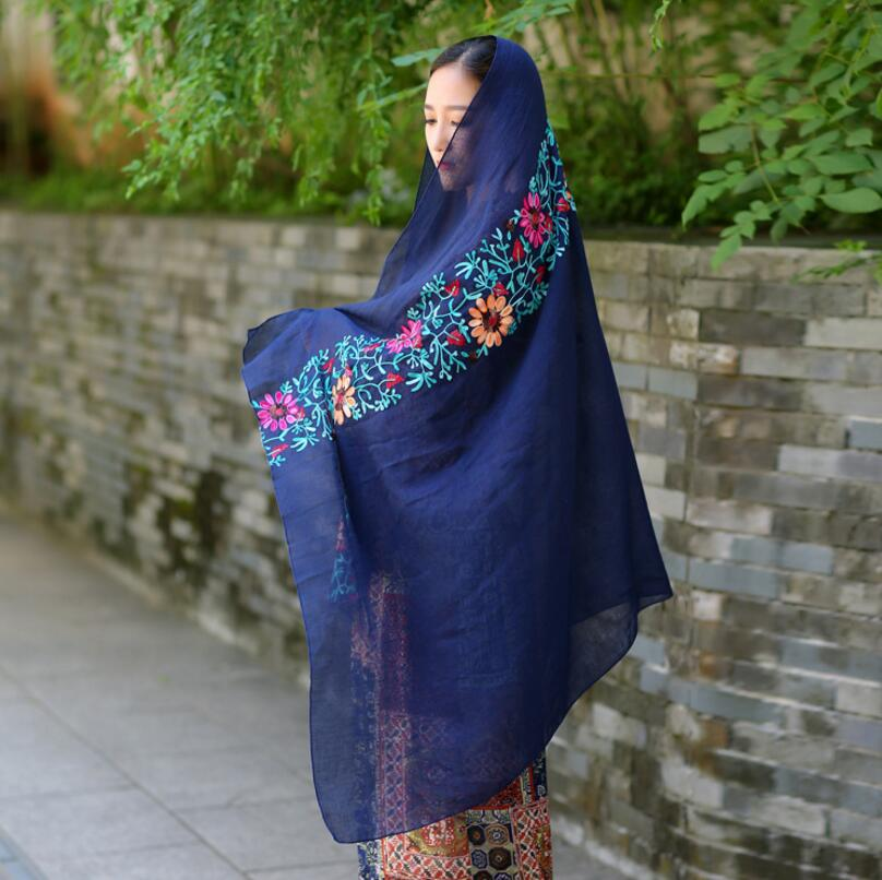 Nepal India Ethics Ladies Fashion Charming Colorful Flowers Embroidery Elegant Cotton Scarf