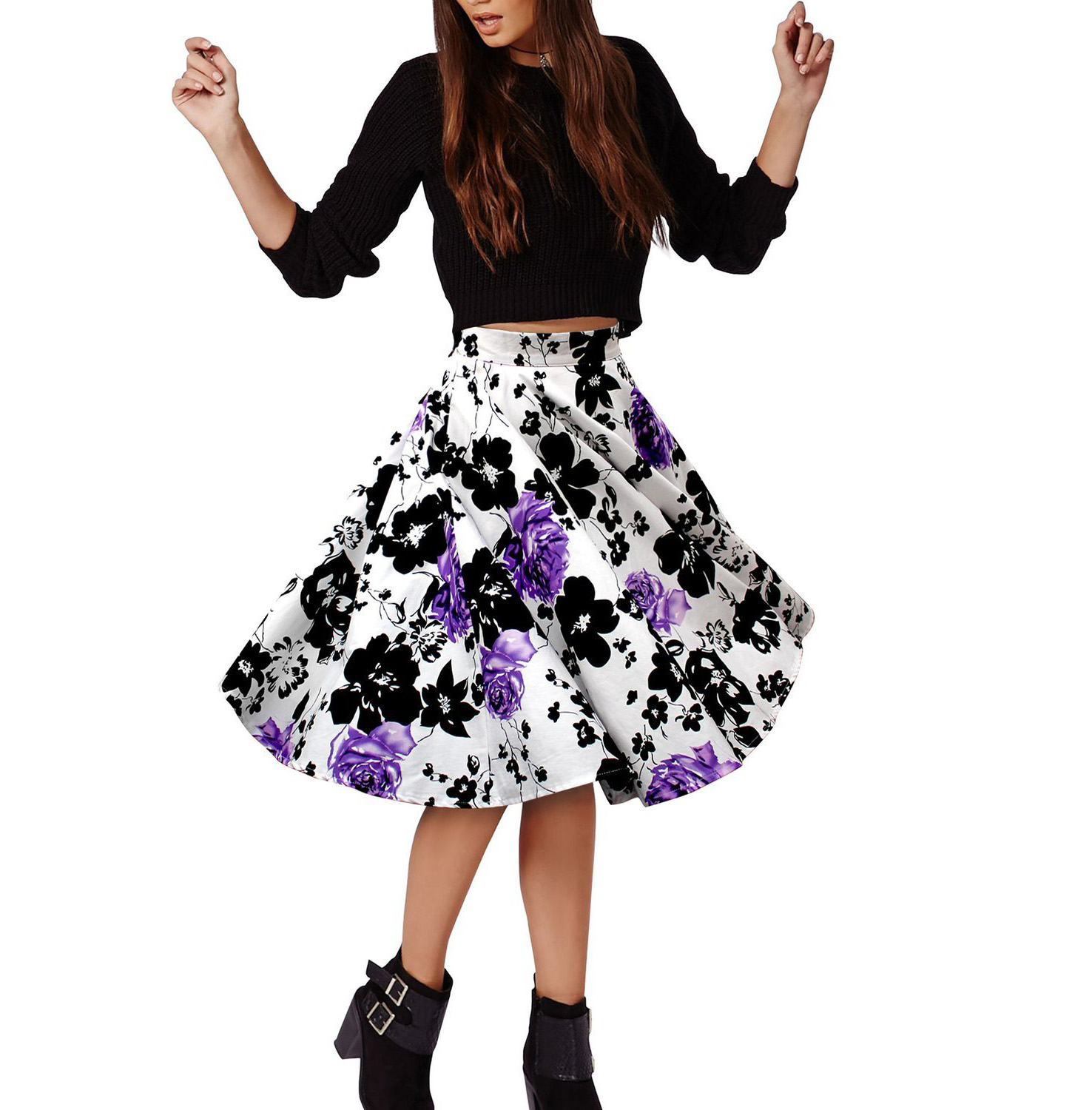 European Women's Fashion Floral Pattern Printed Loose Midi Skirt
