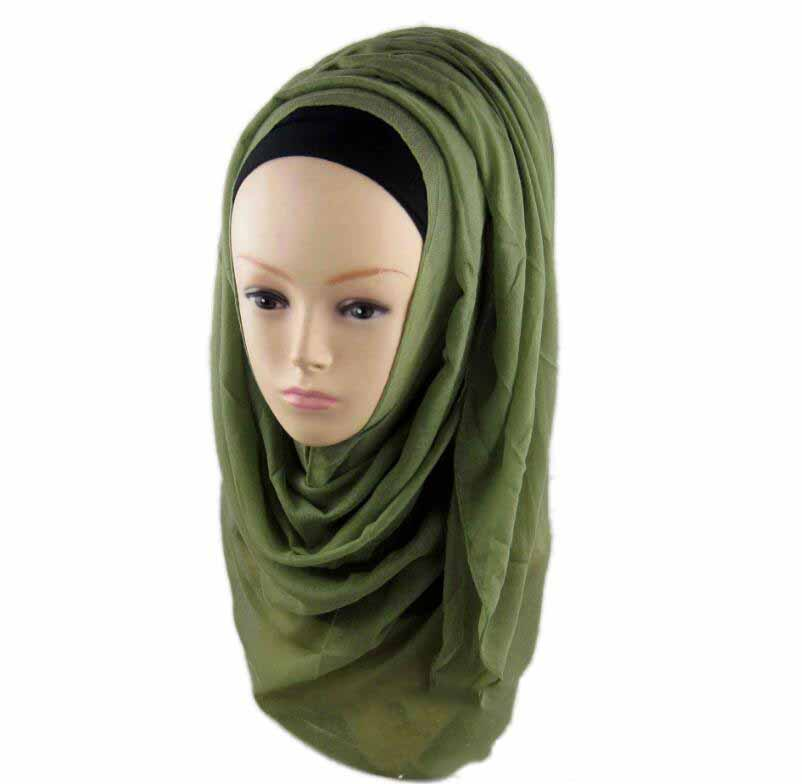 Muslim Fashion Flashy Plain Color Light Ladies Hijab Headscarf