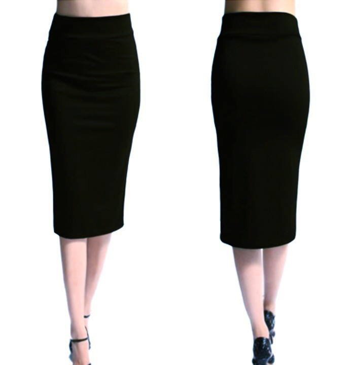 European Women's Fashion Plain Color Slim-fit Midi Skirt