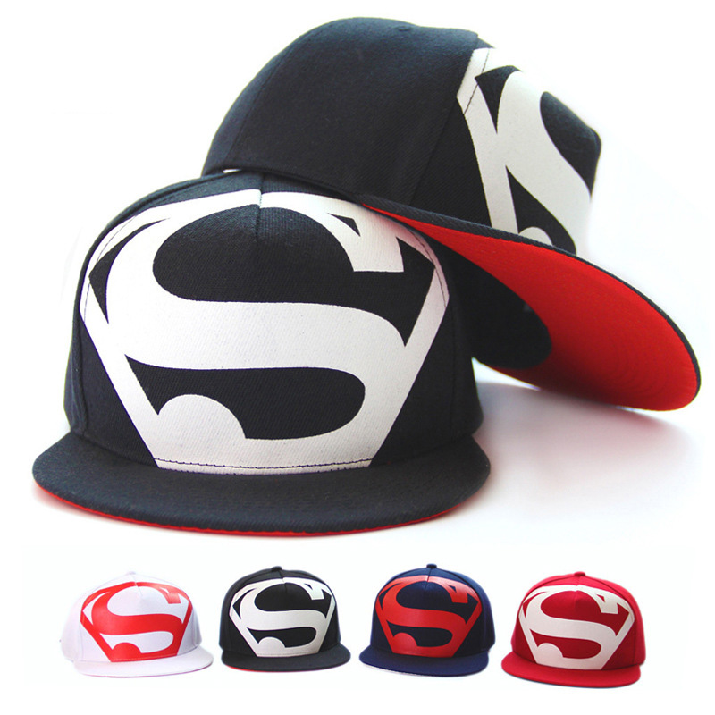 Korean Unisex Fashion Casual Superman Logo Printed Baseball Caps