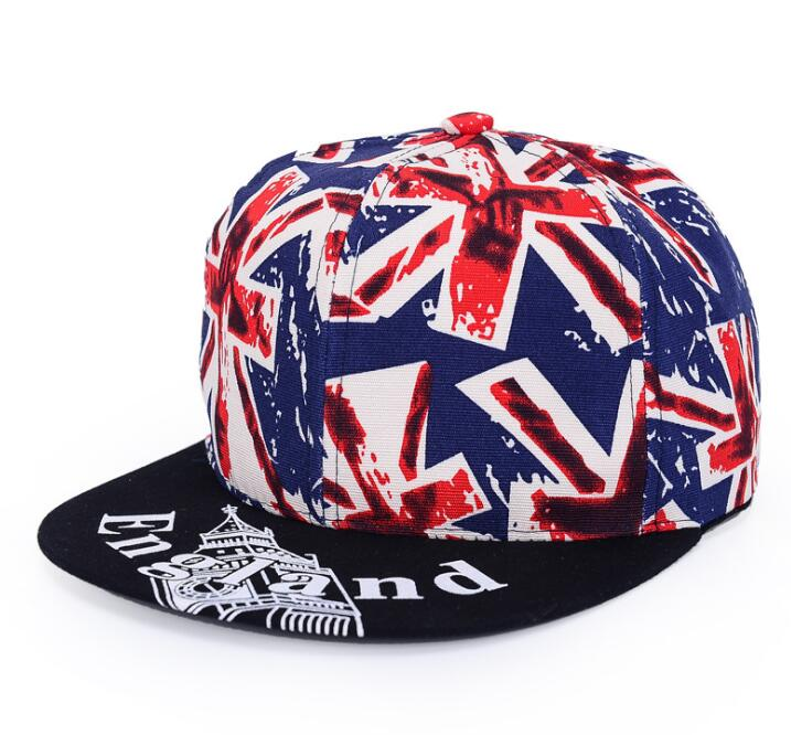 European Unisex Fashion Hip-hop British Flag Printed Caps