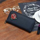 Bird Rose Pattern Embroidery Classic All Black Simple Casual Long Thin Zip Purse