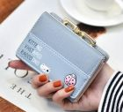 Cute Little Cat Ladybird Pattern Front Designs Coin Compartment Detailed Clasp Mini Square Foldover Purse