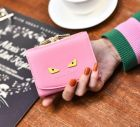 Sweet Color Little Devil Pattern Back Coin Compartment Detailed Clasp Designs Small Square Ladies Purse