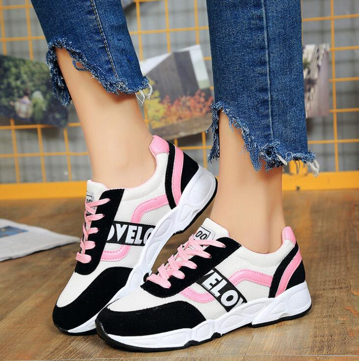 In-style Sporty Ladies Fashion Color Block Pattern Designs Breathable Comfy Sneaker