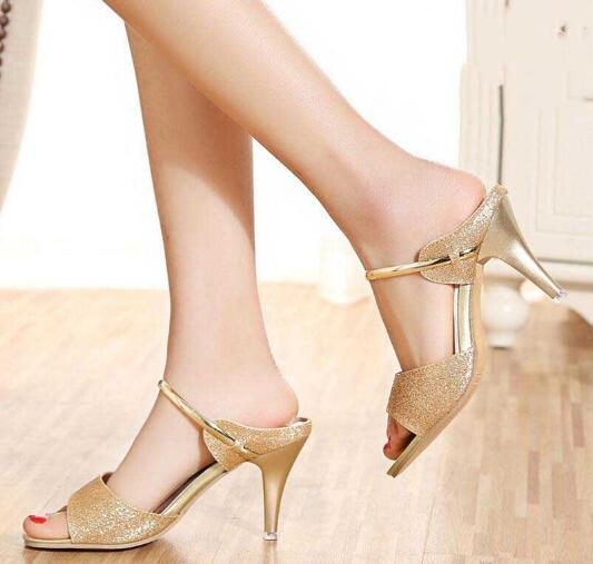 Graceful Bling Shiny Pattern Designs Peep-toes Ladies Dinner High Heels