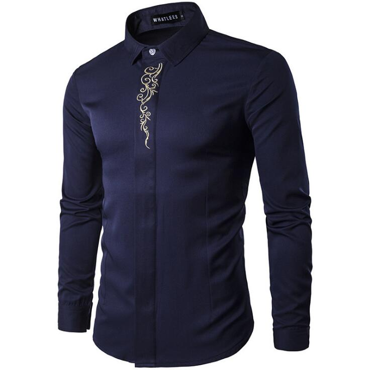 Luxury Plain Color Floral Pattern Embroidery Slim Fit Formal Men\'s Long-sleeve Shirt
