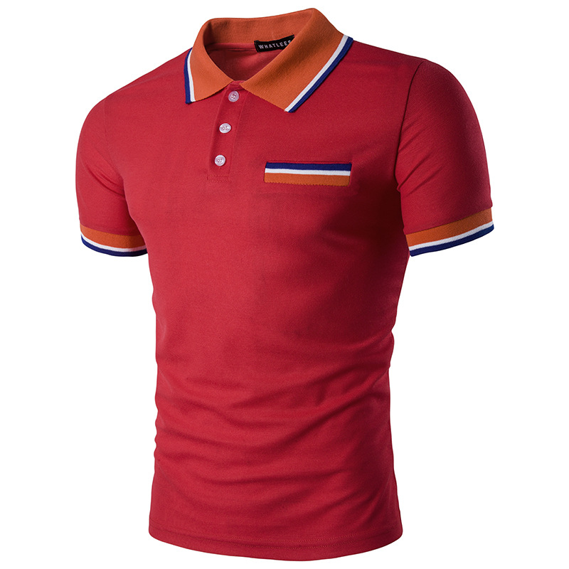 European Men\'s Fashion Multi Color Stripes Design Casual Polo T-shirt